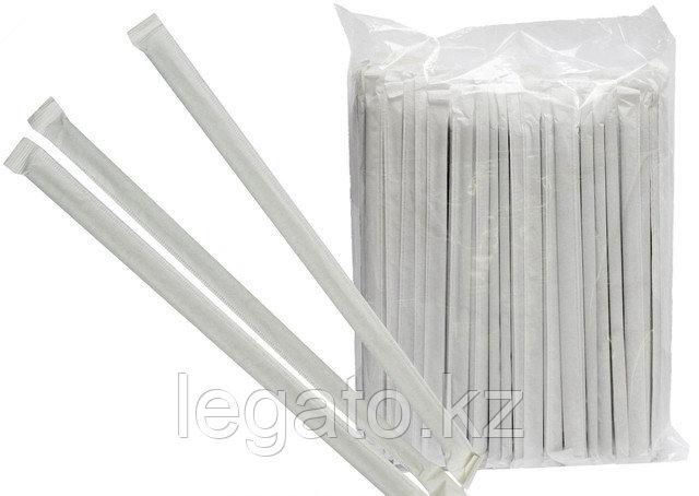 Трубочки д/коктейля 5*240 белые  прямые 500шт/уп 14уп/кор в инд.упаковке