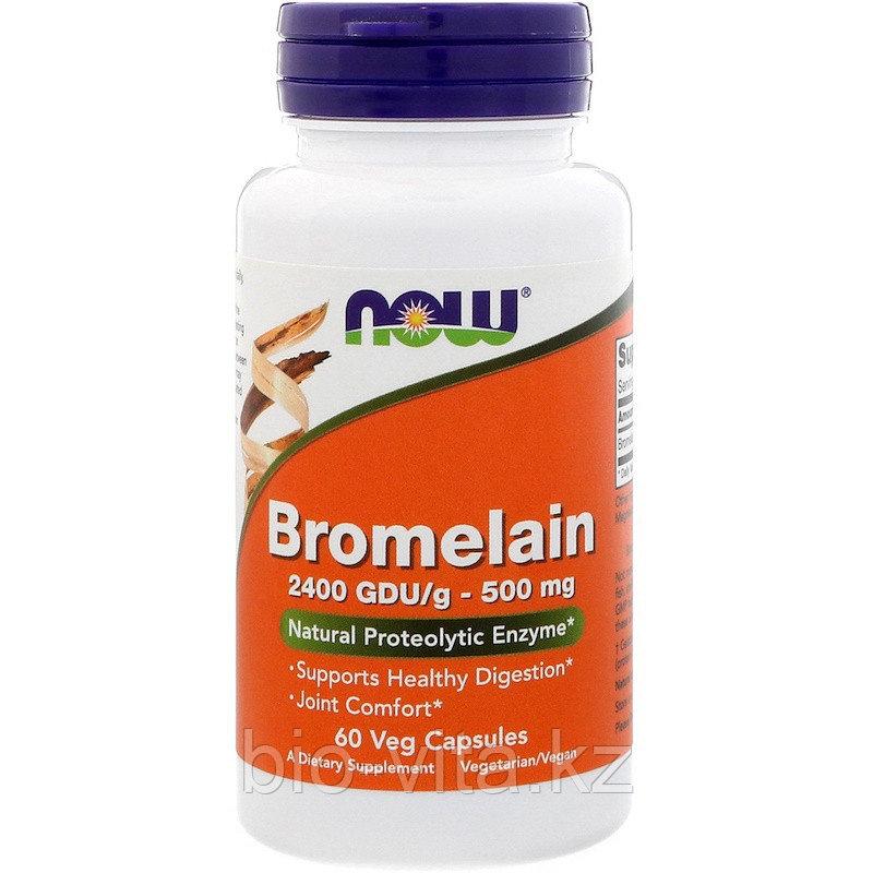 Now Foods, Бромелайн, 500 мг, 60 капсул.