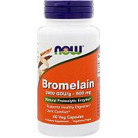 Now Foods, Бромелайн, 500 мг, 60 капсул., фото 1