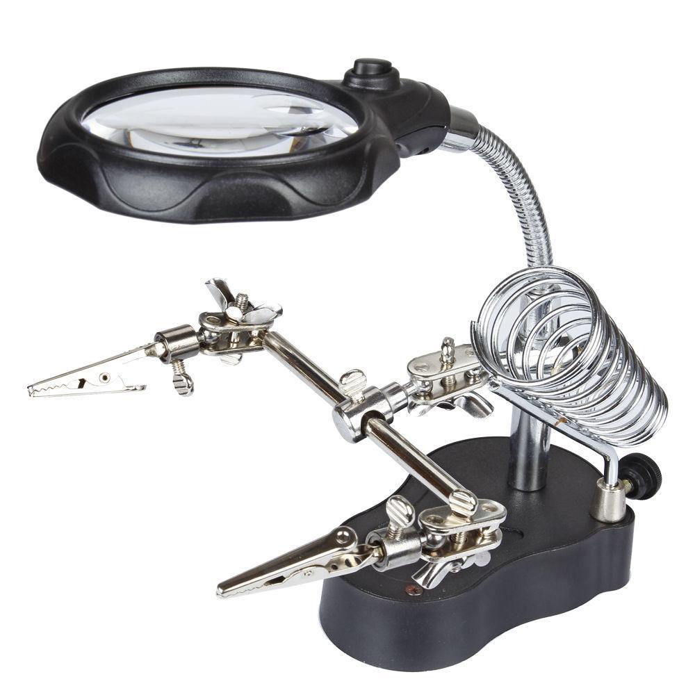 Лупа  настольная 3,5/12x, 65 мм, на гибком штативе с держателем и подсветкой (2 LED) MG16126-A