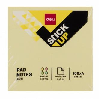 Клейкие листки DELI 76х76 мм, желтые, 100 листов