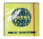 """Клейкие листки GLOBAL """"Neon"""" 75 х 75 мм  ярко-желтые 80 листов"""