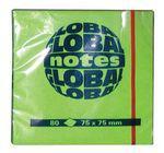 """Клейкие листки GLOBAL """"Neon"""" 75 х 75 мм  ярко-зеленые 80 листов"""