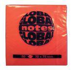 """Клейкие листки GLOBAL """"Neon"""" 75 х 75 мм  ярко-оранжевые 80 листов"""