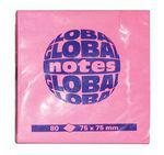 """Клейкие листки GLOBAL """"Neon"""" 75 х 75 мм  ярко-розовые 80 листов"""