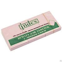 Клейкие листки INDEX 51 х 38 мм  3 блока х 100 л  светло-розовые