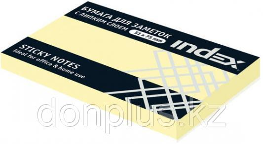Клейкие листки INDEX 51 х 75 мм  желтые 100 листов