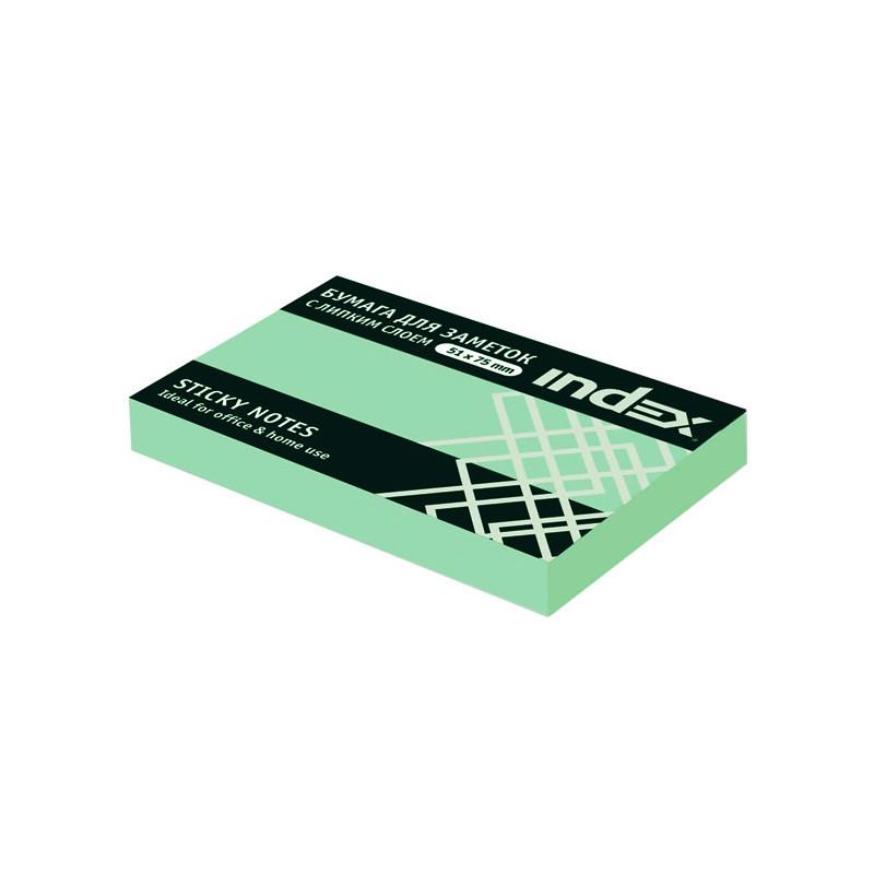 Клейкие листки INDEX 51 х 75 мм светло-зеленые 100 листов