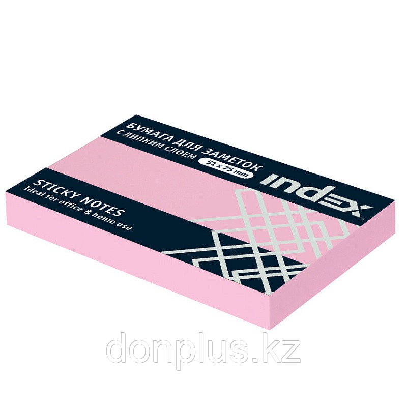 Клейкие листки INDEX 51 х 75 мм светло-розовые100 листов