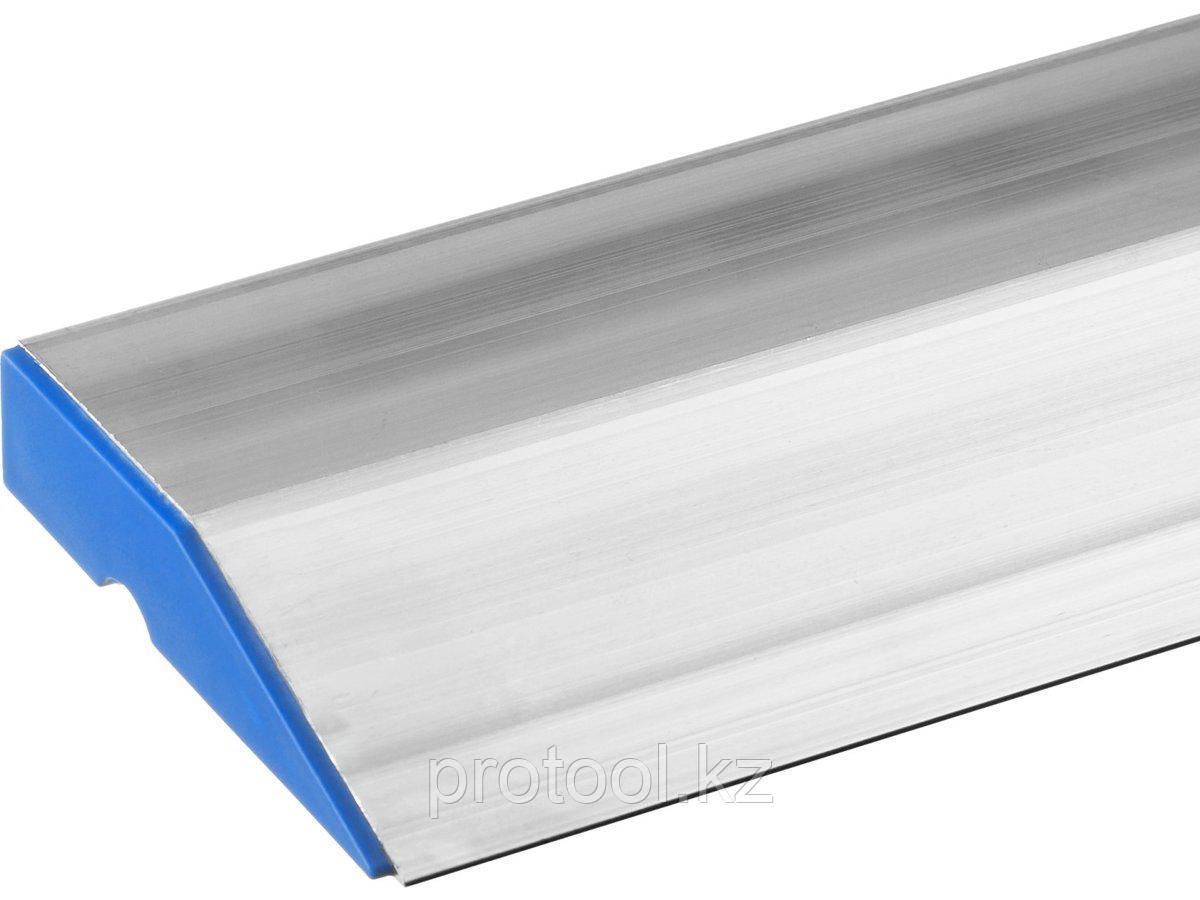 Правило трапеция СИБИН алюминиевое, с цилиндрическим ребром жесткости  1 метр