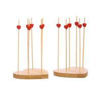 Набор аперитив из бамбука в виде сердца 17 предметов