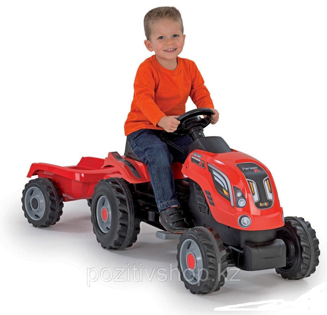 Детский педальный трактор Smoby XL с прицепом - фото 1