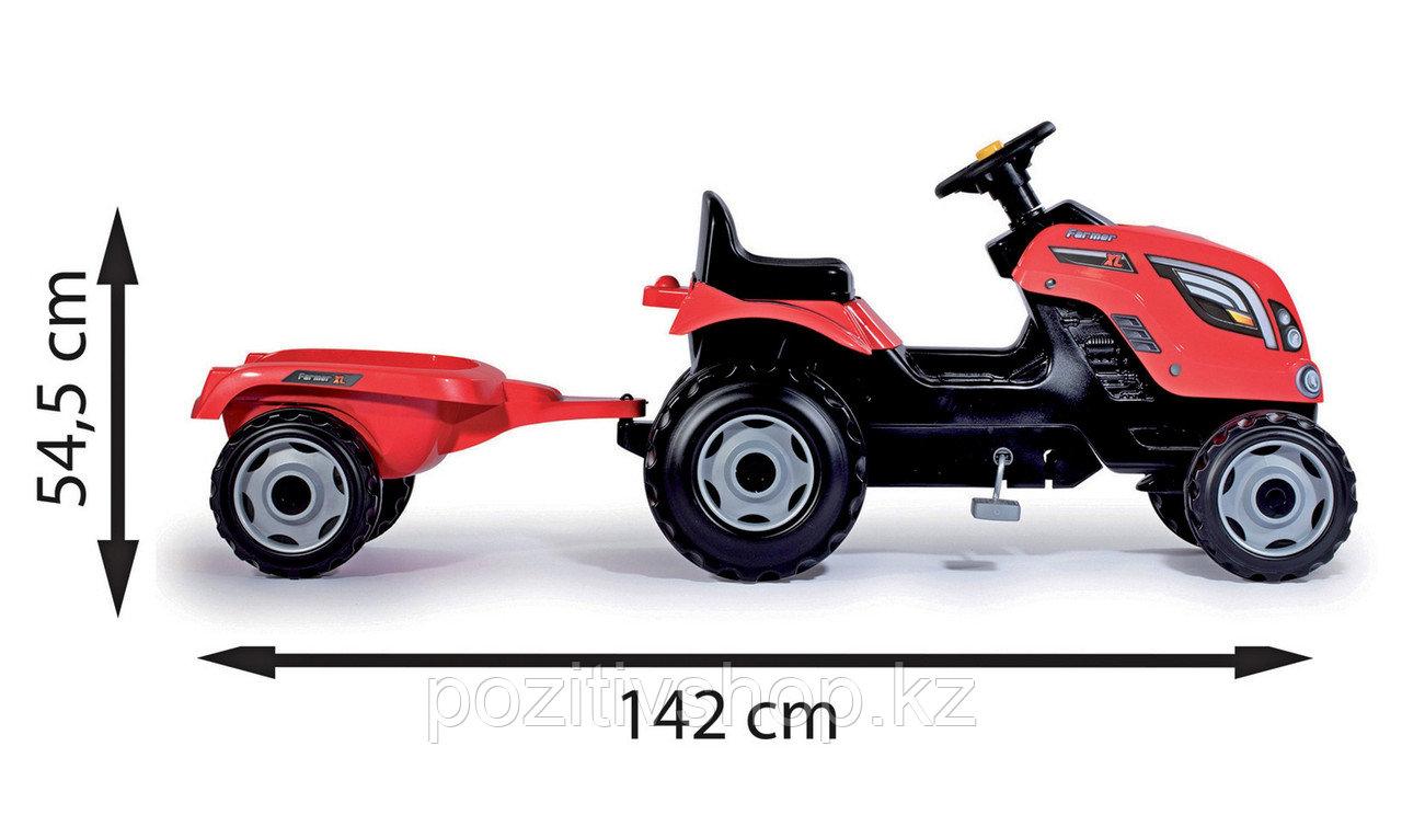 Детский педальный трактор Smoby XL с прицепом - фото 4