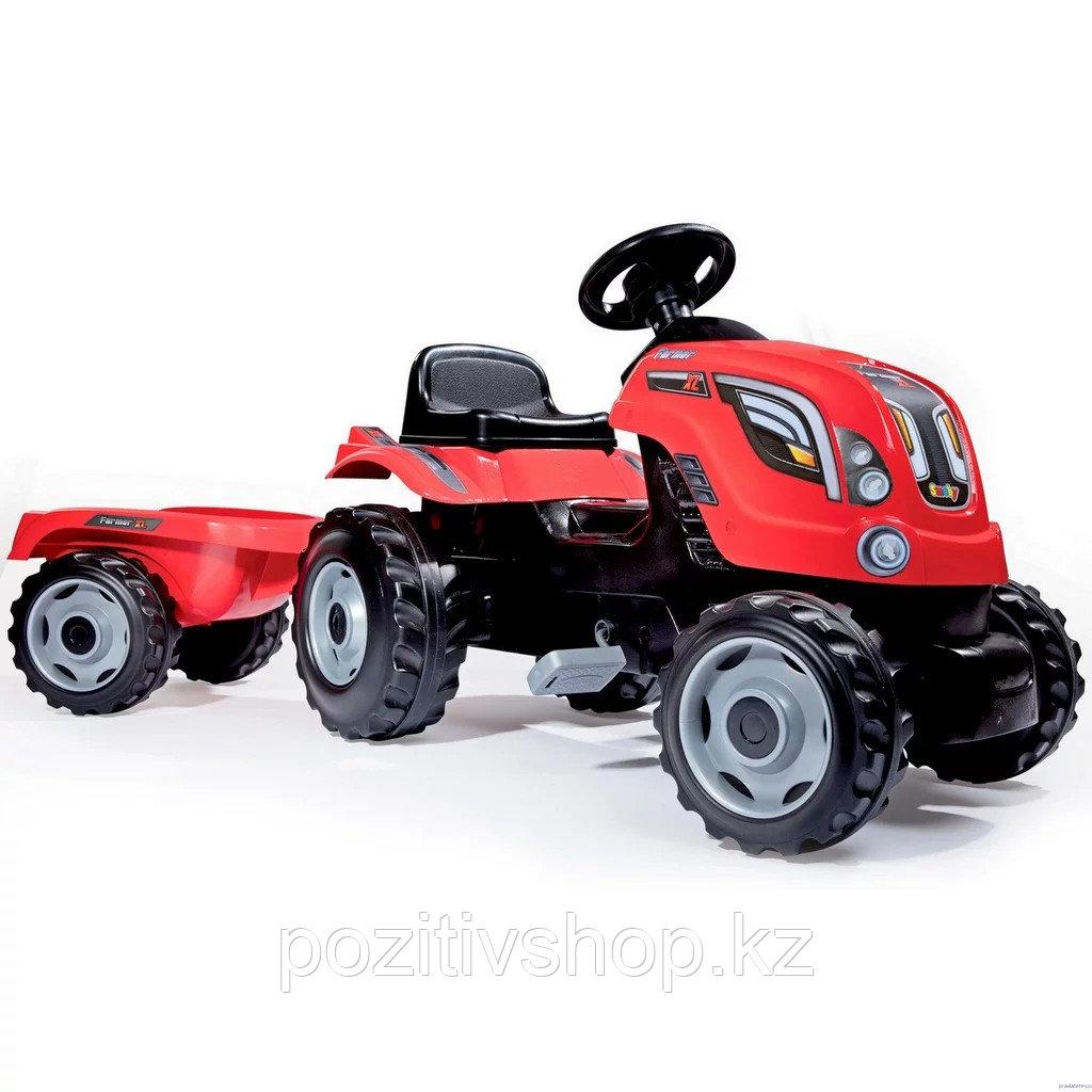Детский педальный трактор Smoby XL с прицепом - фото 2