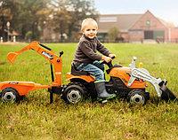 Детский педальный трактор Smoby строительный с 2-мя ковшами и прицепом 710110, фото 1