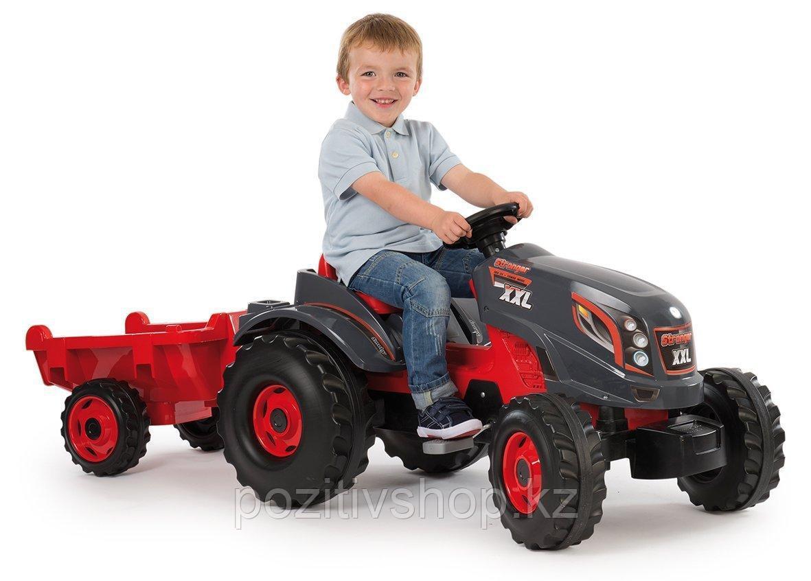 Детский педальный трактор Smoby XXL с прицепом - фото 1