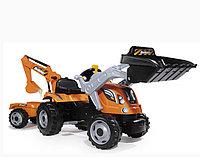 Трактор педальный строительный с 2-мя ковшами и прицепами арт. 710110