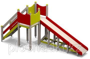 Горка зимняя, с лестницей, красная, желтая