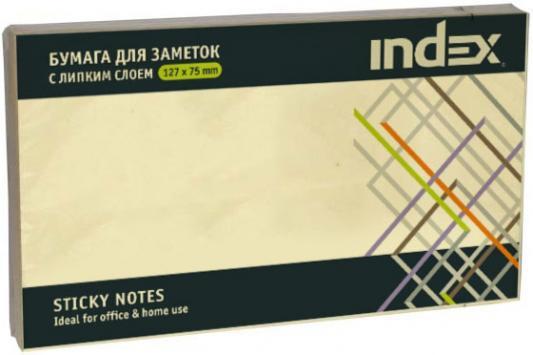Клейкие листки INDEX 75 х 127 мм  желтые 100 листов