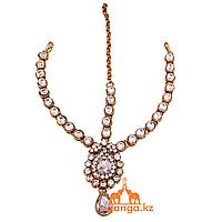 Тика - индийское украшение на голову, Золотистая со светлыми стразами
