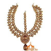 Тика - индийское украшение на голову, Золотистая со стразами