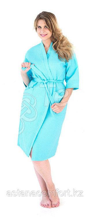 Женский вафельный банный бирюзовый халат. Россия.