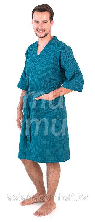 Халат-кимоно вафельный. Изумрудный. Россия.