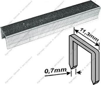 (31306) Скобы закаленные Профи, узкие прямоугольные, (тип 53), ширина 11,3 мм, 6 мм 1000 шт.