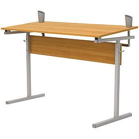 Стол-парта 2-мест. рег. угол (ш1200*г500*в520-640мм),2-4гр,серый каркас, ЛДСП бук, Ш-304М