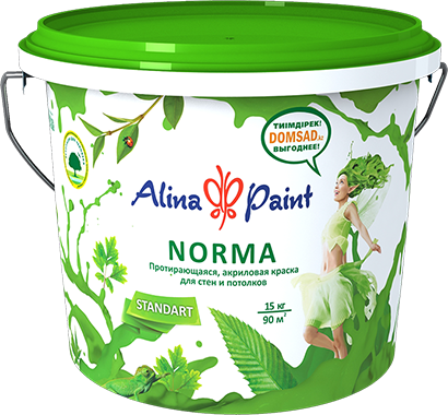 Протирающая акриловая краска д/стен и потолков Norma 1 кг