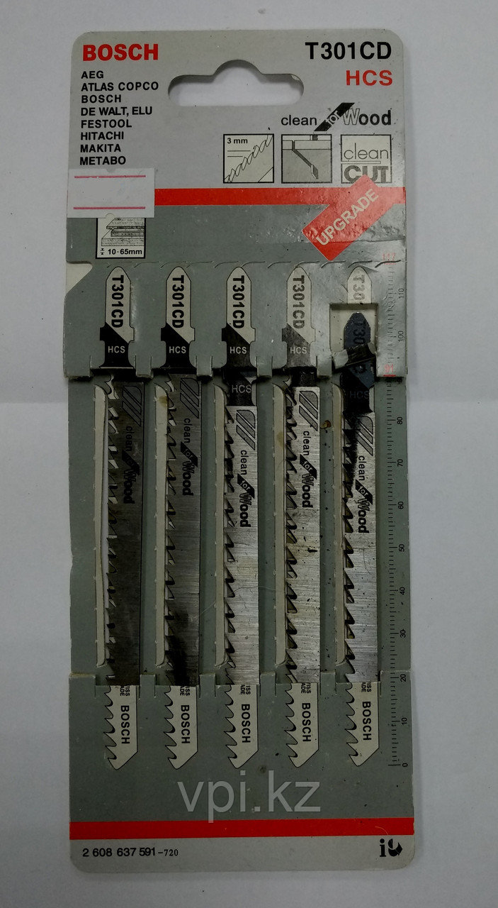 Набор пилок по дереву для электролобзика, чистый рез,  T301CD, 3*91мм, 5шт. BOSH