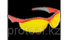 """Очки ЗУБР """"МАСТЕР"""" защитные, желтые, поликарбонатная монолинза с мягкими двухкомпонентными дужками"""