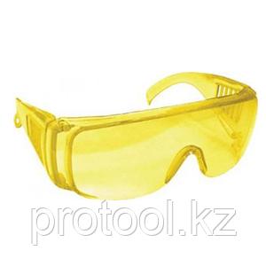 Очки DEXX защитные, поликарбонатная монолинза с боковой вентиляцией, желтые, фото 2