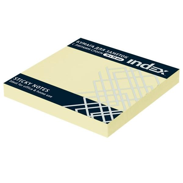 Клейкие листки INDEX 76 х 75 мм  желтые 100 листов