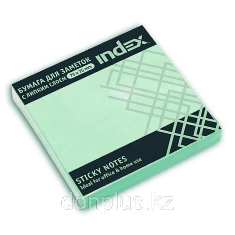 Клейкие листки INDEX 76 х 75 мм  светло-голубые 100 листов