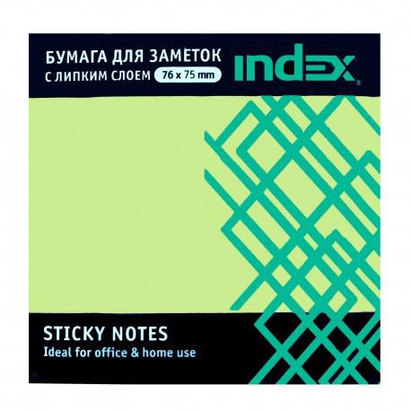 Клейкие листки INDEX 76 х 75 мм  светло-зеленые 100 листов