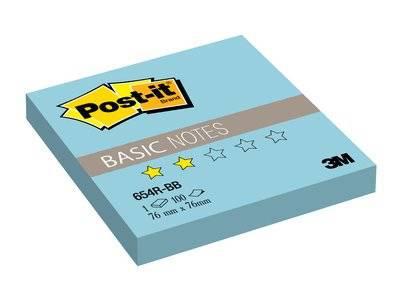 """Клейкие листки POST-IT """"Basic"""" 76 х 76 мм, голубые, 100 листов"""
