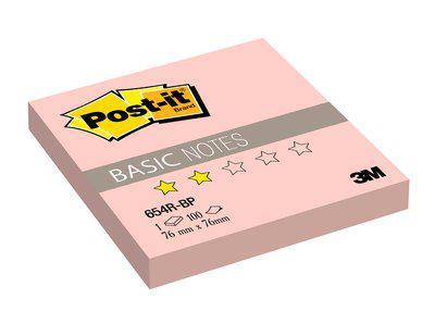 """Клейкие листки POST-IT """"Basic"""" 76 х 76 мм, розовые, 100 листов"""