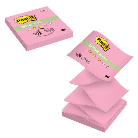 """Клейкие листки POST-IT """"Optima"""" Z-укладка, розовый неон, 76х76 мм, 100 листов"""