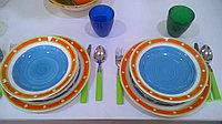 Посуда из керамики 18 штук. «SUNSHINE» цвет голубой