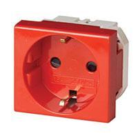 DKC 76482R Электрическая розетка, с заземлением, со шторками, красная,2 мод.