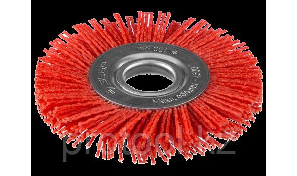 """ЗУБР """"ПРОФЕССИОНАЛ"""". Щетка дисковая для УШМ, нейлоновая проволока с абразивным покрытием, 150х22мм"""