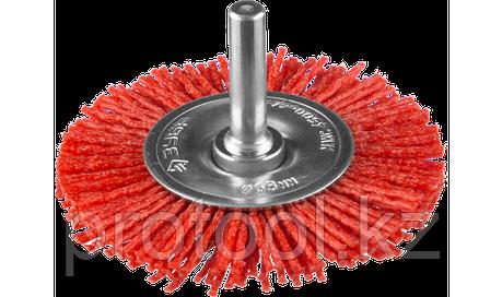 """ЗУБР """"ЭКСПЕРТ"""". Щетка дисковая для дрели, нейлоновая проволока с абразивным покрытием, 63мм, фото 2"""