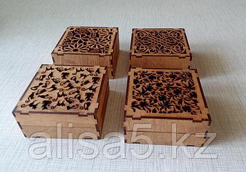 Шкатулки для мелочей с резной крышкой (дерево)  10 х 10 х 5 см
