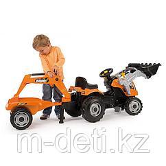 Трактор педальный строительный с двумя ковшами и прицепом Smoby 710110