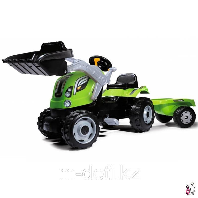 Трактор педальный с прицепом с ковшом, зеленый 710109 Smoby