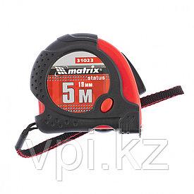 Рулетка Status magnet fixation, 5м*25мм, обрезиненный корпус, зацеп с магнитом Matrix
