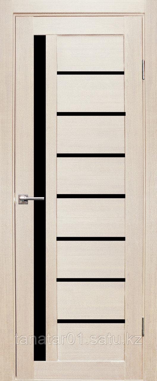 Дверь Вертикаль, цвет лиственница, черное стекло