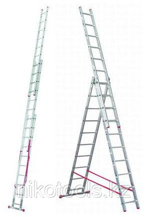 Алюминиевая лестница Corda 3х10 Н=2,8/4,3/6,15м (010407)