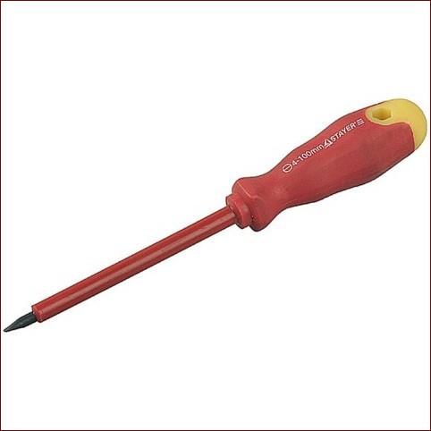 Отвертка STAYER диэлектрическая до 1000Вт, SL 6,5 х 150 мм